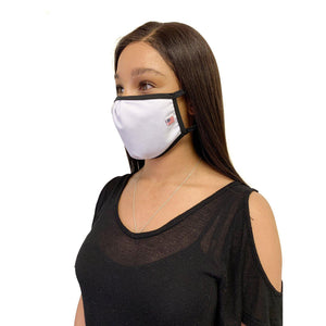 Made in USA Face Masks Mouth Nose Washable Reusable Double Layer Mask Cotton Cloth Blend-Face Mask Pack-Casaba-White-CSB-TRI-FM-WHITE
