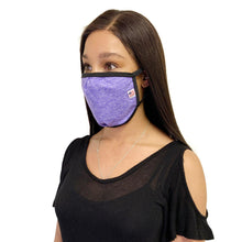 Load image into Gallery viewer, Made in USA Face Masks Mouth Nose Washable Reusable Double Layer Mask Cotton Cloth Blend-Face Mask Pack-Casaba-Heather Purple/Black-CSB-TRI-FM-HEATHER PURPLE/BLK