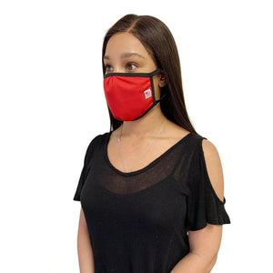 Made in USA Face Masks Mouth Nose Washable Reusable Double Layer Mask Cotton Cloth Blend-Face Mask Pack-Casaba-Red-CSB-TRI-FM-RED