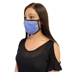 Made in USA Face Masks Mouth Nose Washable Reusable Double Layer Mask Cotton Cloth Blend-Face Mask Pack-Casaba-Heather Blue/White-CSB-TRI-FM-HEATHER BLUE/WHT