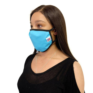 Made in USA Face Masks Mouth Nose Washable Reusable Double Layer Mask Cotton Cloth Blend-Face Mask Pack-Casaba-Aqua Blue-CSB-TRI-FM-AQUA