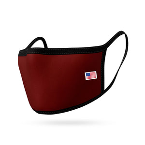 Made in USA Face Masks Mouth Nose Washable Reusable Double Layer Mask Cotton Cloth Blend-Face Mask Pack-Casaba-Maroon-CSB-TRI-FM-MAROON