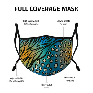 Casaba 3 Pack Face Masks Animal Leopard Prints Fashion Cotton Poly Adjustable Washable Reusable Double Layer Pocket Filter-AMLIFE Face Masks