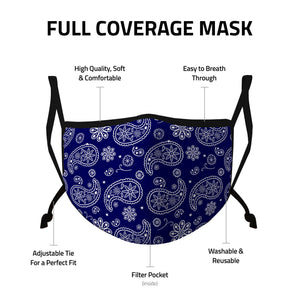 Casaba 3 Pack Paisley Print Face Masks Unisex Fashion Cotton Poly Adjustable Washable Reusable Double Layer Pocket Filter-AMLIFE Face Masks