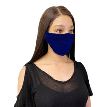 Load image into Gallery viewer, 3 Pack Blue Cotton Face Mask Cloth Masks for Mouth Nose Washable Reusable Double Layer Covering Adjustable Ear-AMLIFE Face Masks