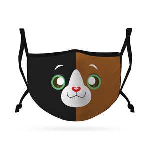 Cute Face Masks for Kids Child Adjustable Boys Girls Ages 3 to 9 Cotton Poly Washable Reusable 2 Layer Pocket Filter-Face Mask Pack-Casaba-Cat-CSB-KIDSFM-CAT