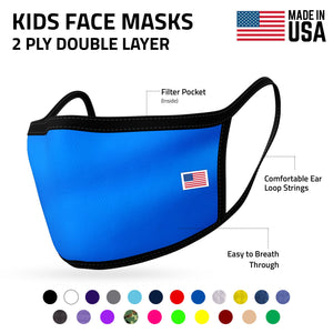 Kids Face Mask for Boys Girls Children Cotton Cloth Double Layer Masks Washable Reusable age 3 to 7 Made in USA-AMLIFE Face Masks