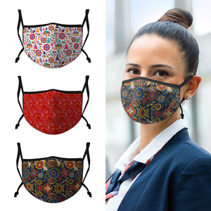 Casaba 3 Pack Face Masks Stylish Cultural Prints Cotton Poly Adjustable Washable Reusable Double Layer Pocket Filter-AMLIFE Face Masks