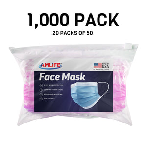 Amlife Disposable Face Masks Protective 3-Ply Filter Made in USA with Imported Fabric