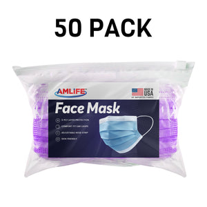 Amlife Disposable Face Masks Protective 3-Ply Filter Made in USA with Imported Fabric-AMLIFE Face Masks