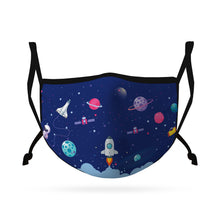 Load image into Gallery viewer, Cute Face Masks for Kids Child Adjustable Boys Girls Ages 3 to 9 Cotton Poly Washable Reusable 2 Layer Pocket Filter-Face Mask Pack-Casaba-Space-CSB-KIDSFM-SPACE
