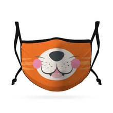 Load image into Gallery viewer, Cute Face Masks for Kids Child Adjustable Boys Girls Ages 3 to 9 Cotton Poly Washable Reusable 2 Layer Pocket Filter-Face Mask Pack-Casaba-Tiger-CSB-KIDSFM-TIGER