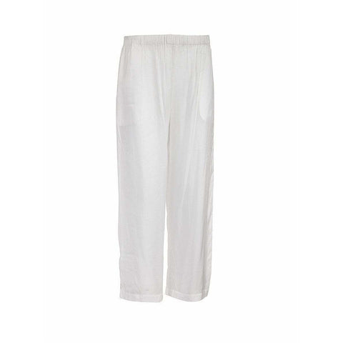 Comme des Garçons Womens Pants Small / White Straight Leg Silk Pant