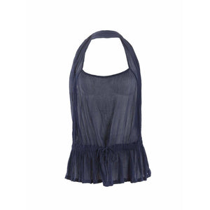 Comme des Garçons Womens Tops Small / Blue Ruched Halter Top