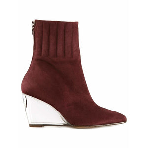 Courrèges Womens Shoes 38 / Maroon Wedge ankle boots