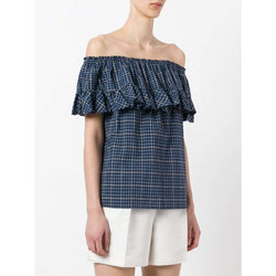 Hache Womens Tops Plaid Ruffled top