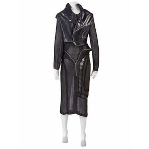 Junya Watanabe Dresses Black / L / Silk&leather vintage leather biker dress
