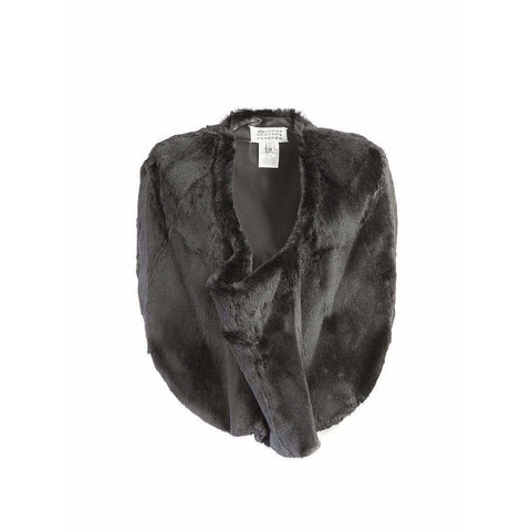 Maison Martin Margiela Womens Tops 42 / Black vintage Cropped Fur pancho