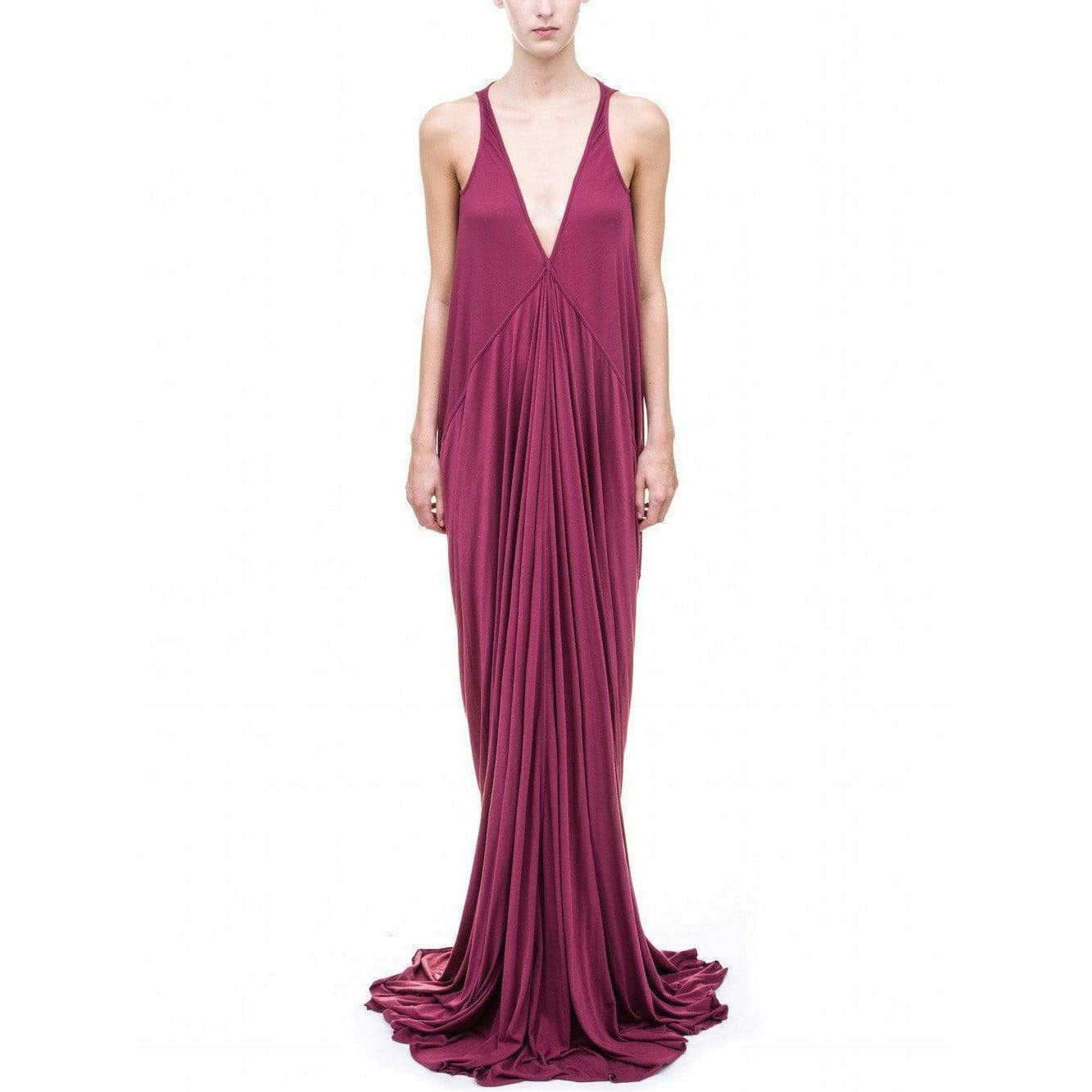 Rick Owens Lilies Dresses 40 / Venetian Red Long V-Neck Dress