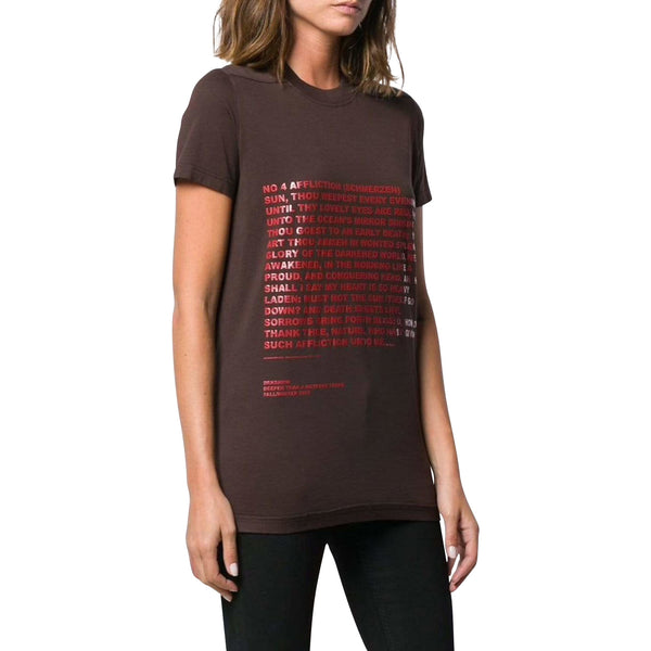 Rick Owens women T-Shirt S / Dark Amber text print T-shirt
