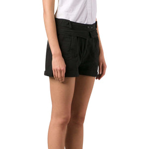 Rolled Shorts in Black Womens Shorts TVSCIA