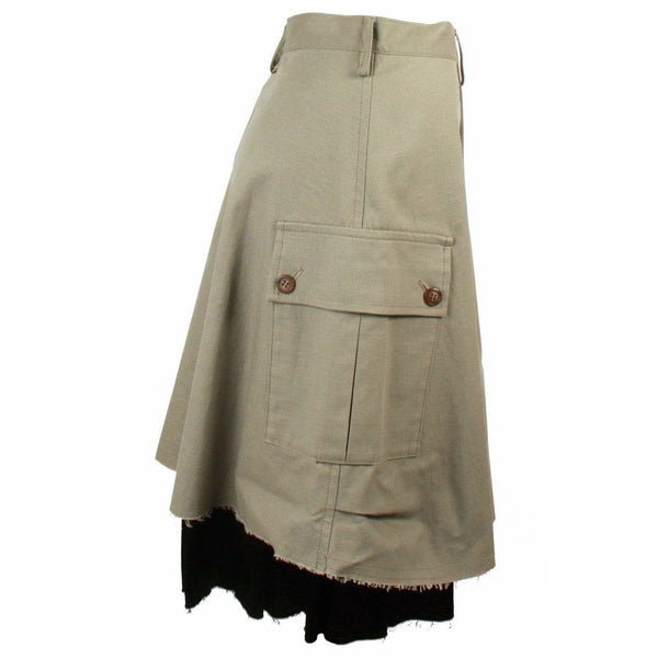 Skirts - Cargo Skirt With Raw Hem In Army Green