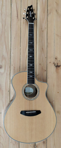 2017 Breedlove Stage Exotic Concert CE Myrtlewood Cutaway with Electronics Natural w/bag