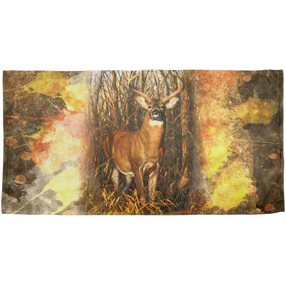 10 Point Buck Splatter All Over Beach Towel
