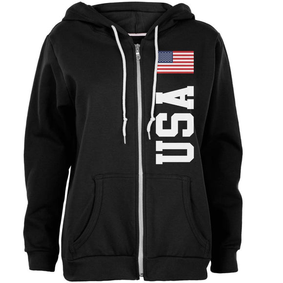 4th Of July America Flag World Cup Womens Full Zip Hoodie