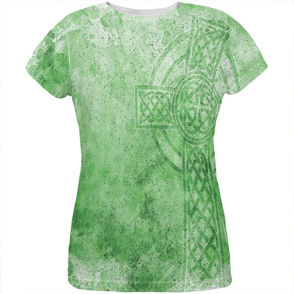 St. Patricks Day Dirty Irish Celtic Cross All Over Womens T Shirt