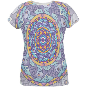 Mandala Trippy Stained Glass Fish All Over Womens T Shirt