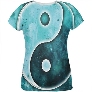 Galaxy Stars Yin Yang Distressed All Over Womens T Shirt