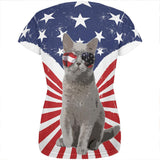 4th Of July Meowica America Patriot Cat All Over Womens T Shirt