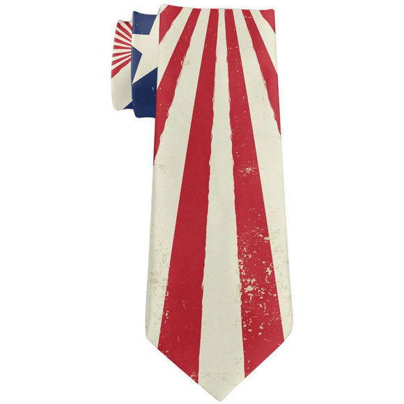 July 4th Patriotic Starburst American Flag DIstressed All Over Neck Tie