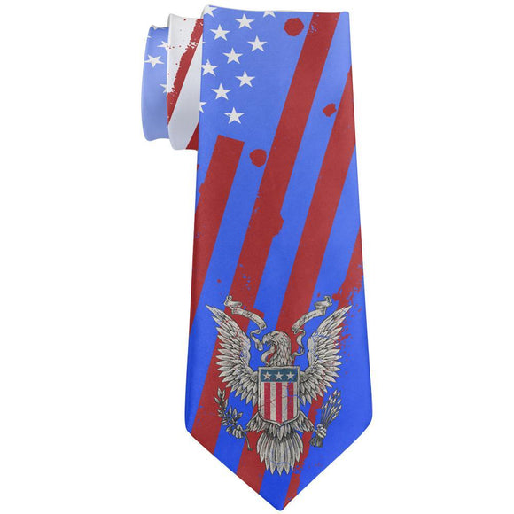 July 4th Born Free Distressed American Flag Eagle All Over Neck Tie