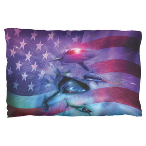 July 4th Patriotic American Galaxy Laser Sharks Pillow Case