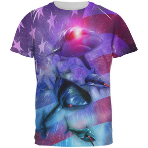 July 4th Patriotic American Galaxy Laser Sharks All Over Mens T Shirt