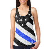Distressed Thin Blue Line American Flag Vintage Juniors Burnout Racerback Tank Top