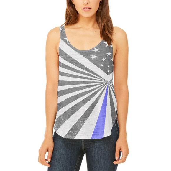 Thin Blue Line Flag Retro Sunburst Juniors Flowy Side Slit Tank Top