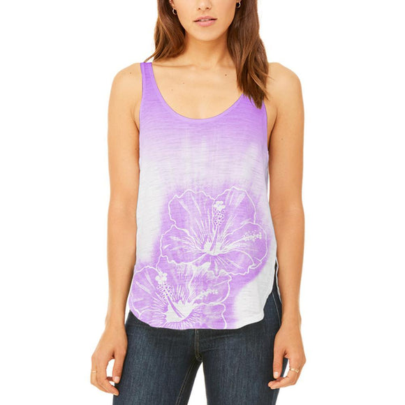Ombre Kauai Purple Hibiscus Flowers Juniors Flowy Side Slit Tank Top