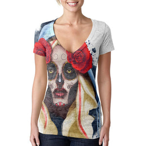 Candy Skull Girl Deadly Kiss Juniors Burnout V-Neck T-Shirt