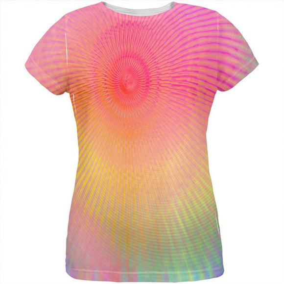 EDM Pastel Unicorn Rainbow Spiral All Over Womens T Shirt
