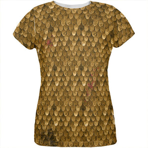 Halloween Battle Damage Bronze Scale Armor Costume All Over Womens T Shirt