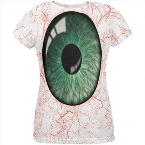 Halloween Green Creepy Eyeball Costume All Over Womens T Shirt