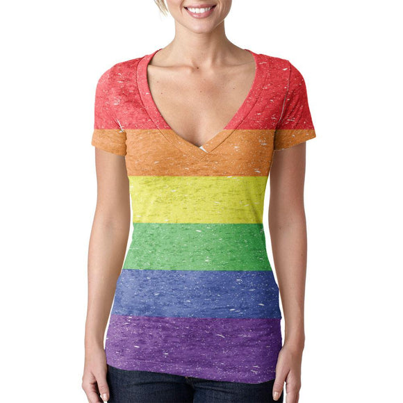 Distressed LGBT Rainbow Gay Pride Flag Juniors Burnout V-Neck T-Shirt