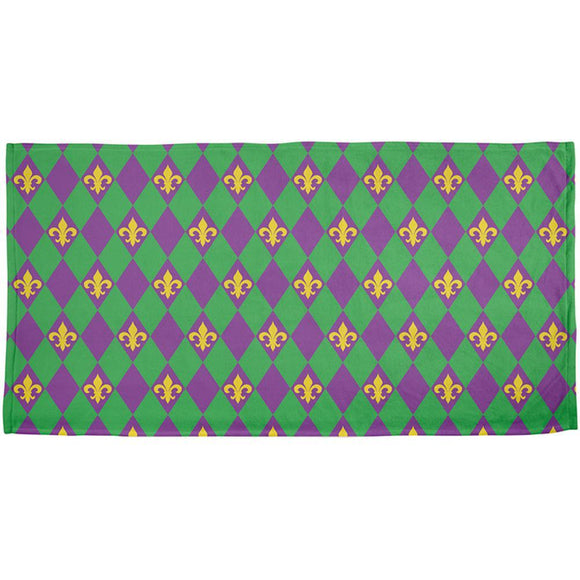 Mardi Gras Fleur De Lis All Over Beach Towel