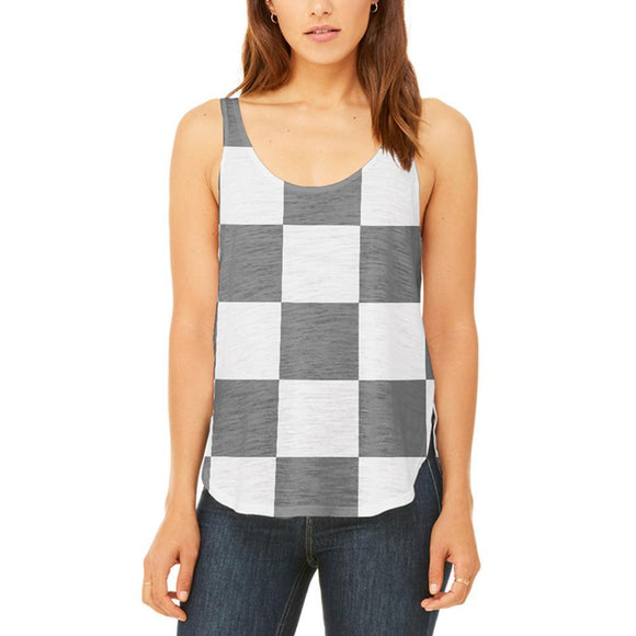 Finish Line Checkered Flag Juniors Flowy Side Slit Tank Top