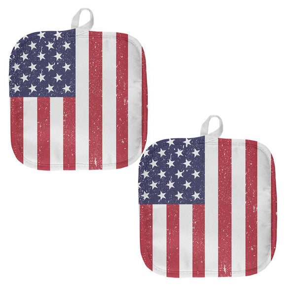 4th of July American Flag Distressed All Over Pot Holder (Set of 2)