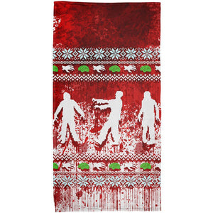 Ugly Christmas Sweater Bloody Zombie Attack Survivor All Over Beach Towel