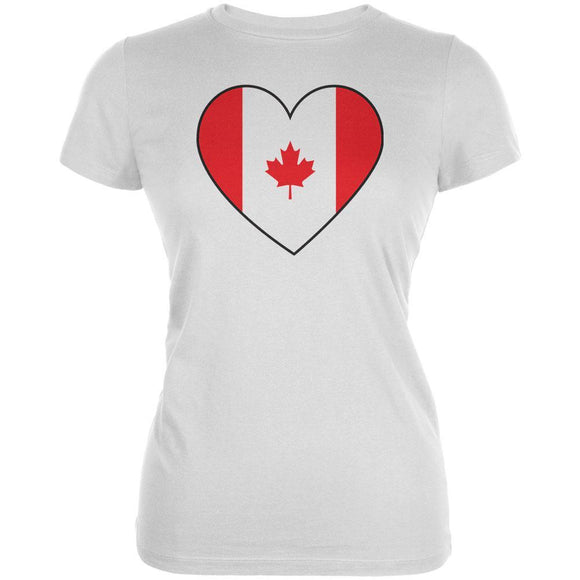 Canada Day Canadian Flag Heart Juniors Soft T Shirt